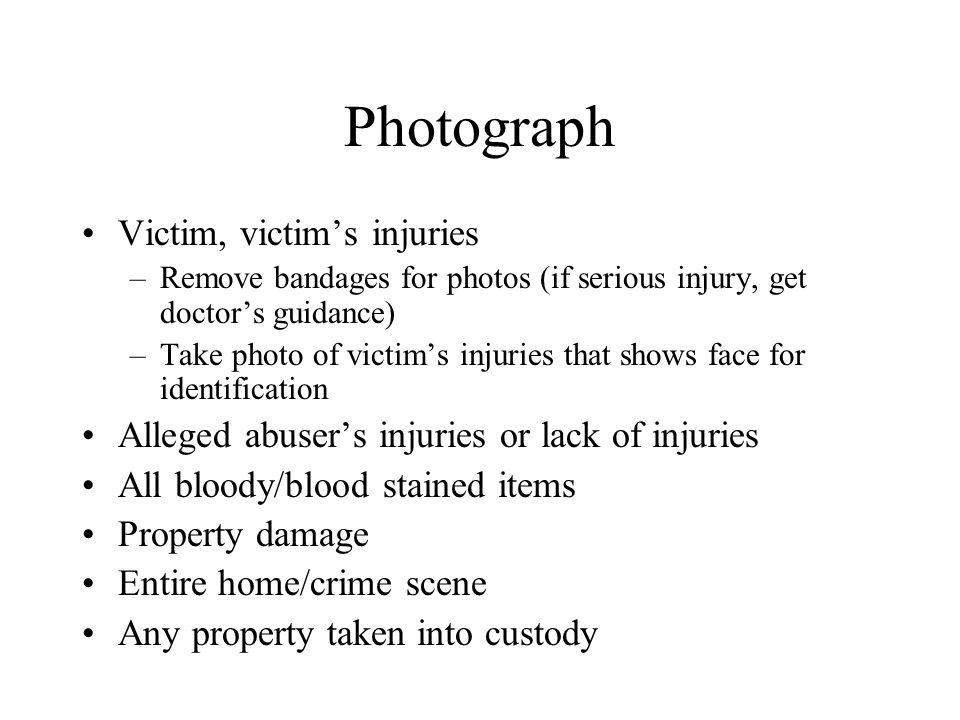 Photograph Victim, victim's injuries