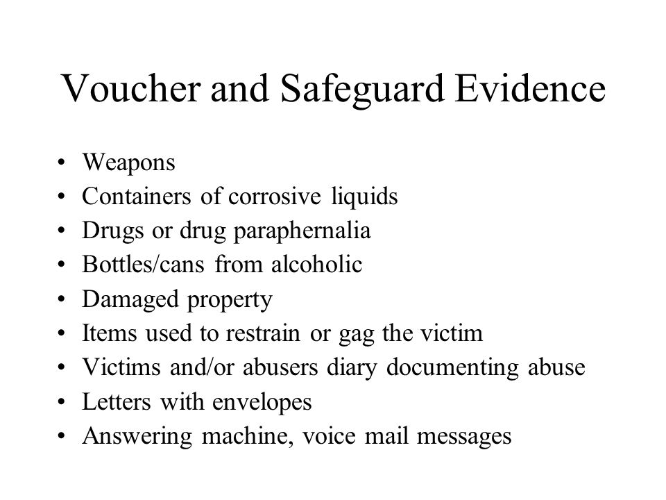 Voucher and Safeguard Evidence
