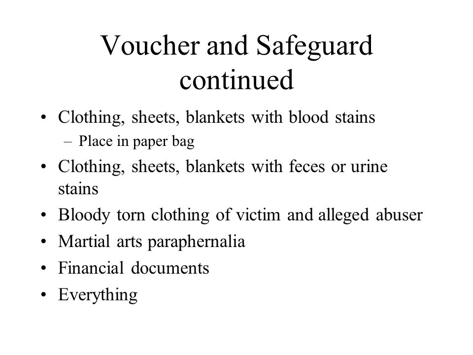 Voucher and Safeguard continued