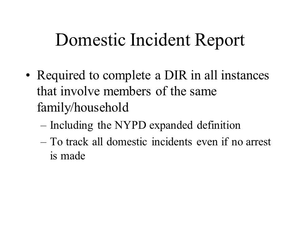Domestic Incident Report