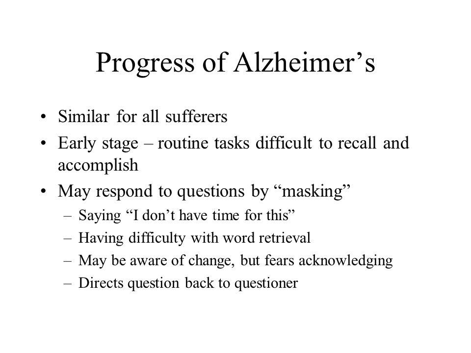 Progress of Alzheimer's