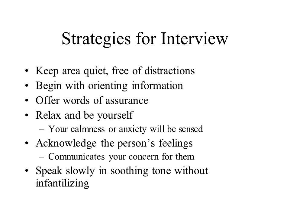 Strategies for Interview