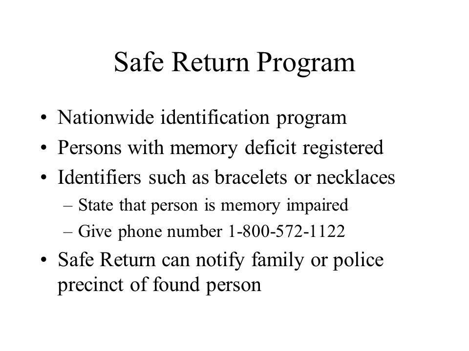 Safe Return Program Nationwide identification program