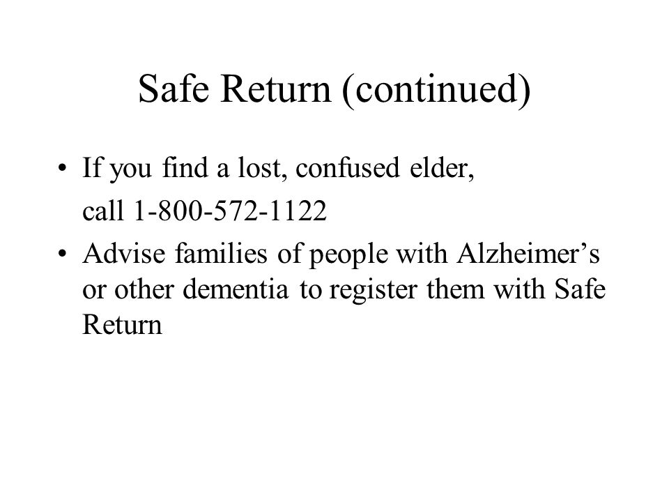 Safe Return (continued)
