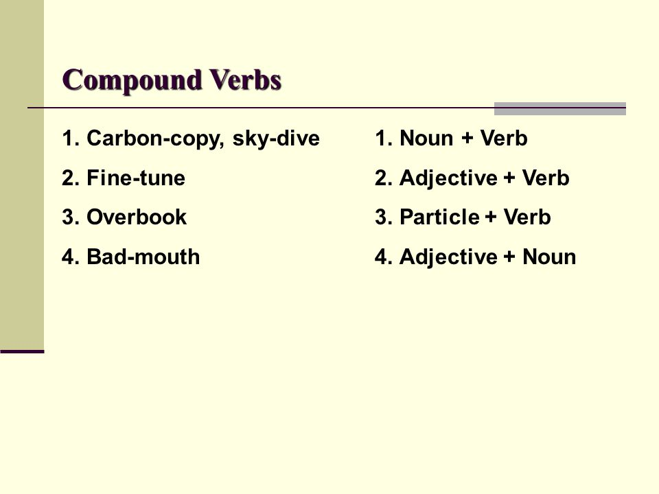 Compound Verbs Carbon-copy, sky-dive Fine-tune Overbook Bad-mouth