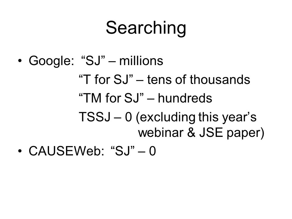 Searching Google: SJ – millions T for SJ – tens of thousands