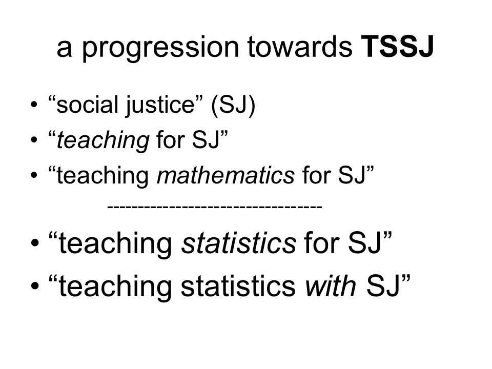 a progression towards TSSJ