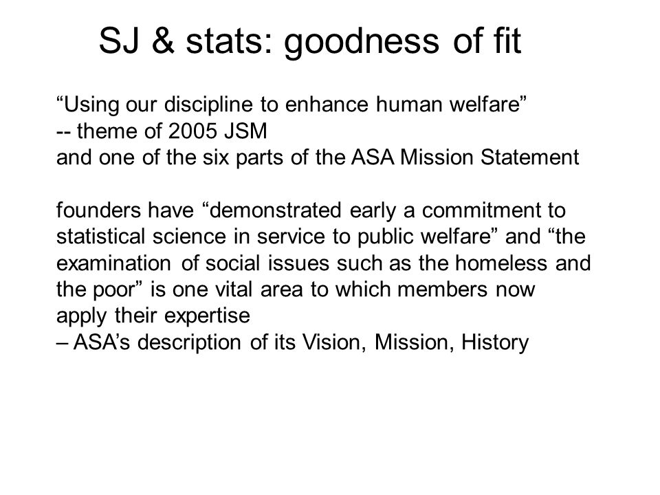SJ & stats: goodness of fit
