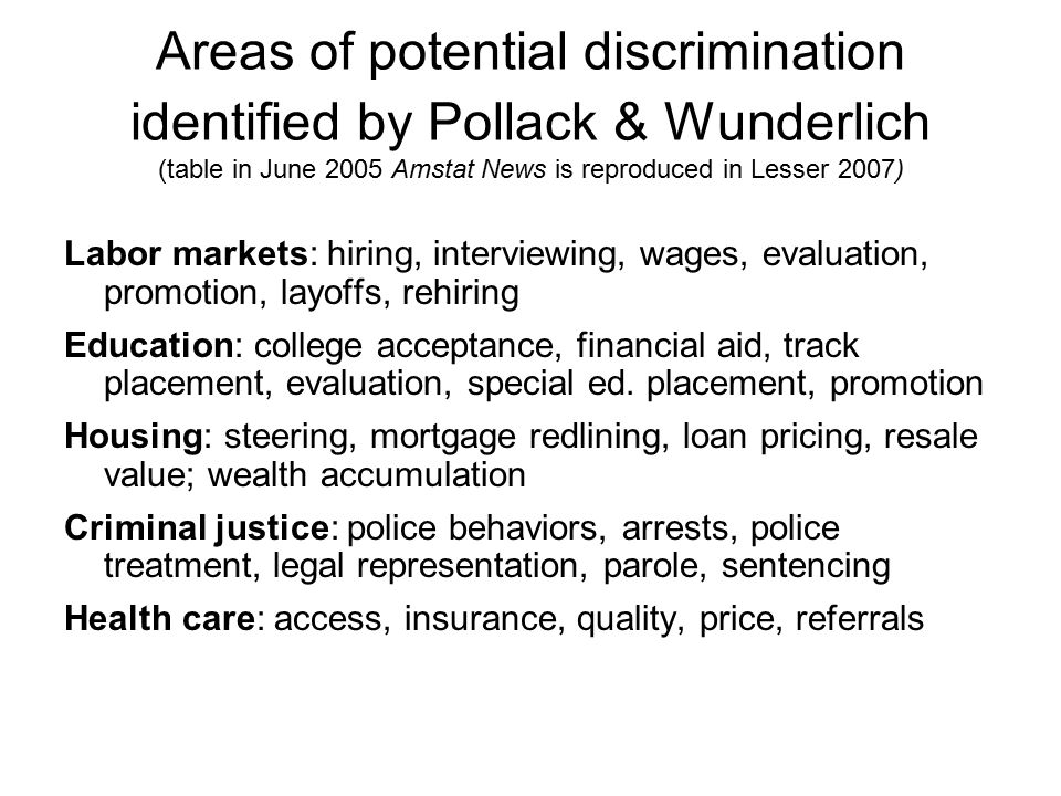 Areas of potential discrimination identified by Pollack & Wunderlich (table in June 2005 Amstat News is reproduced in Lesser 2007)