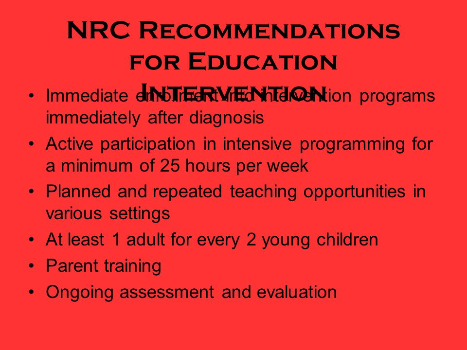 NRC Recommendations for Education Intervention