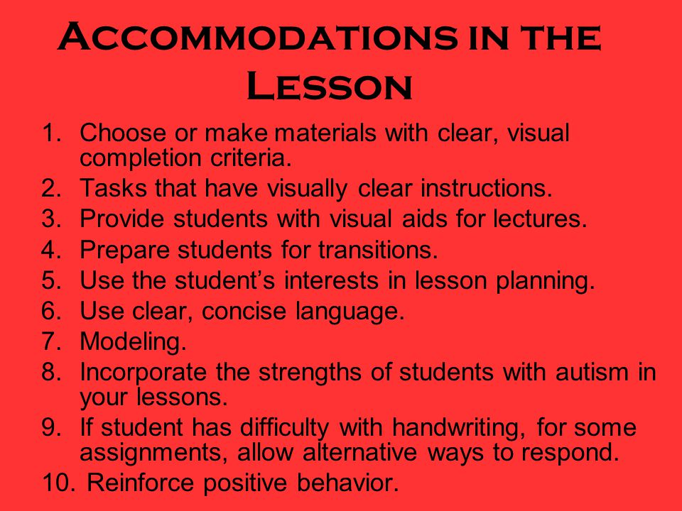 Accommodations in the Lesson