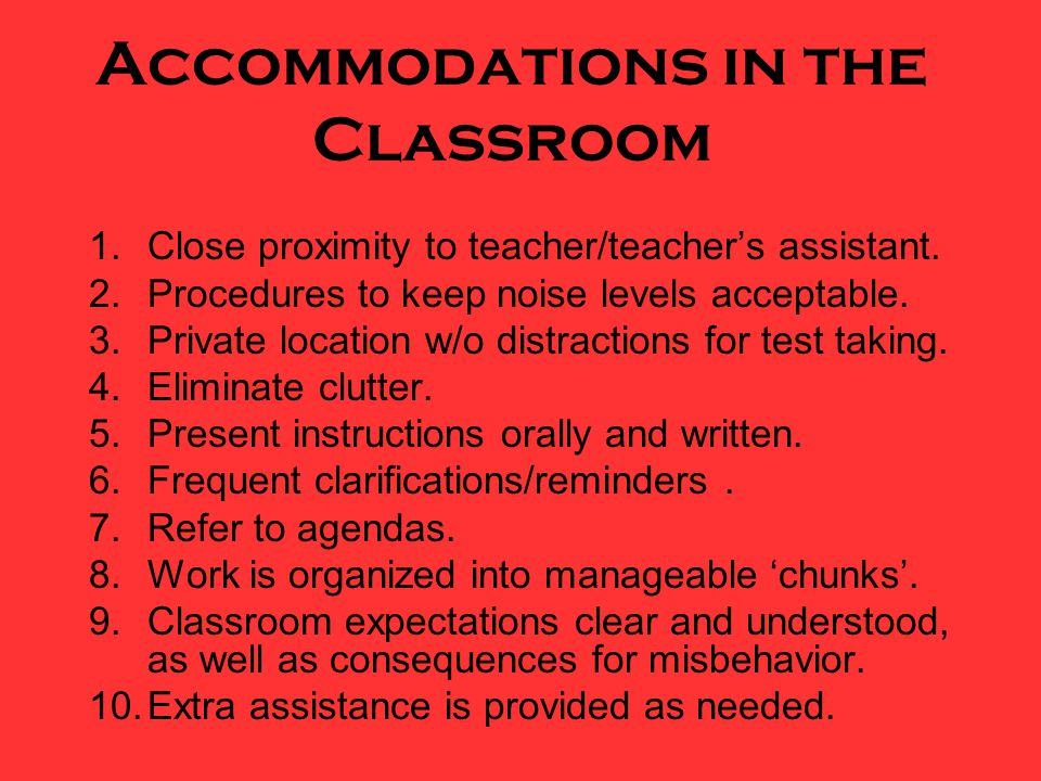 Accommodations in the Classroom