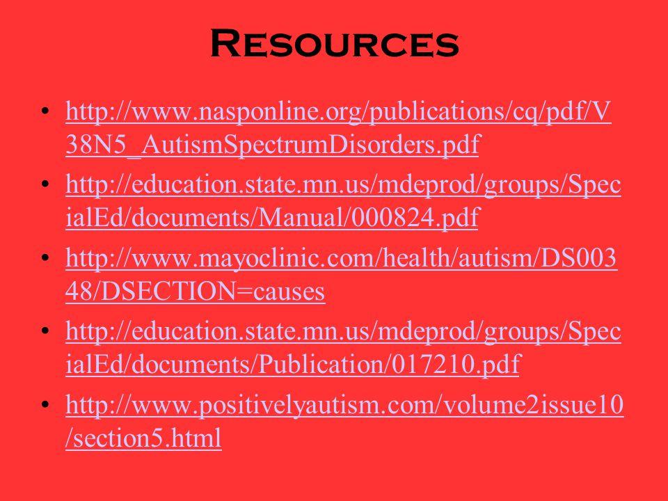 Resources http://www.nasponline.org/publications/cq/pdf/V38N5_AutismSpectrumDisorders.pdf.