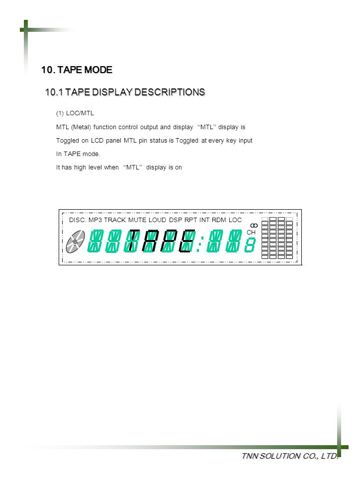 10.1 TAPE DISPLAY DESCRIPTIONS
