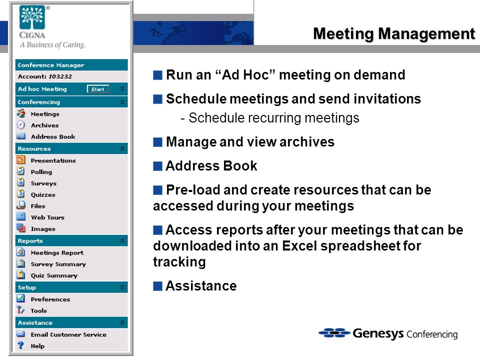 Meeting Management Run an Ad Hoc meeting on demand