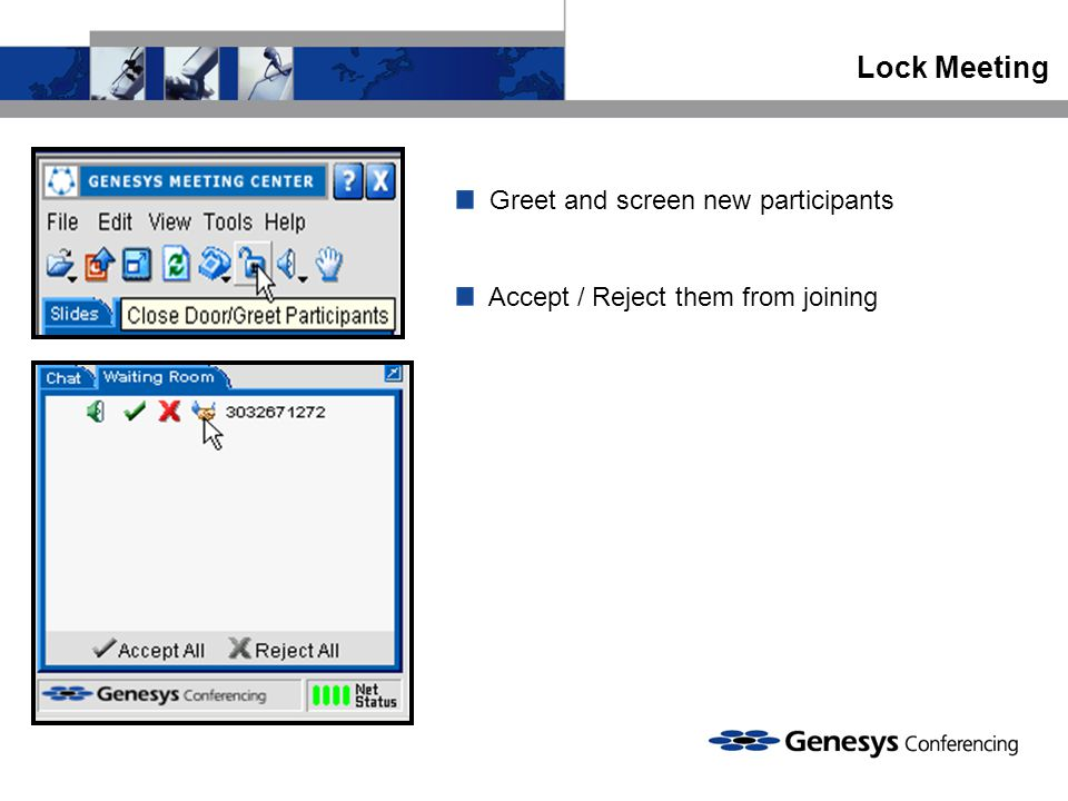 Lock Meeting Greet and screen new participants