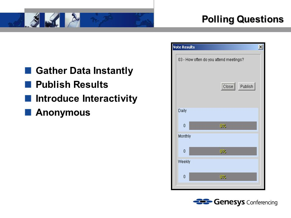 Polling Questions Gather Data Instantly Publish Results Introduce Interactivity Anonymous