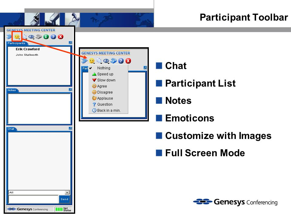 Participant Toolbar Chat Participant List Notes Emoticons Customize with Images Full Screen Mode