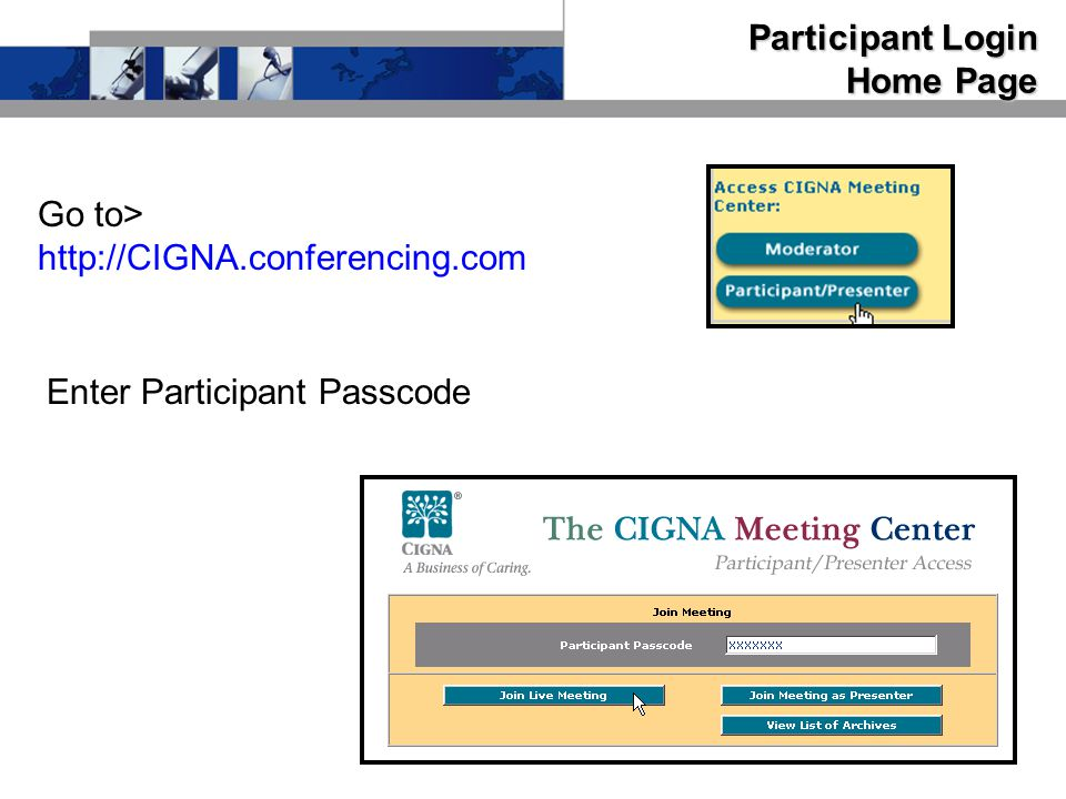 Participant Login Home Page