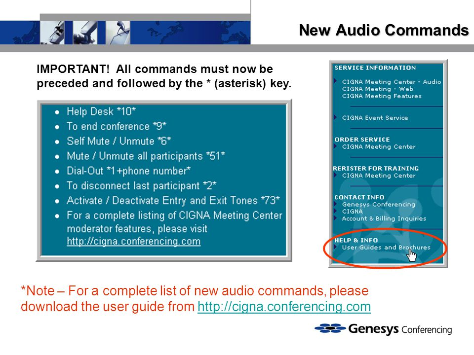 New Audio Commands IMPORTANT! All commands must now be preceded and followed by the * (asterisk) key.
