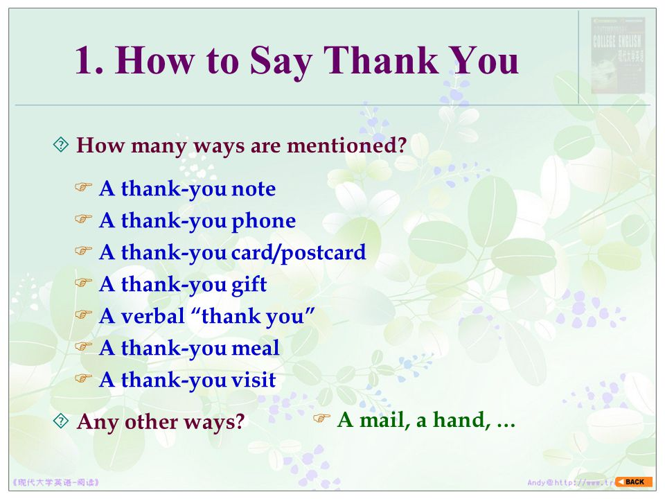 1. How to Say Thank You How many ways are mentioned A thank-you note