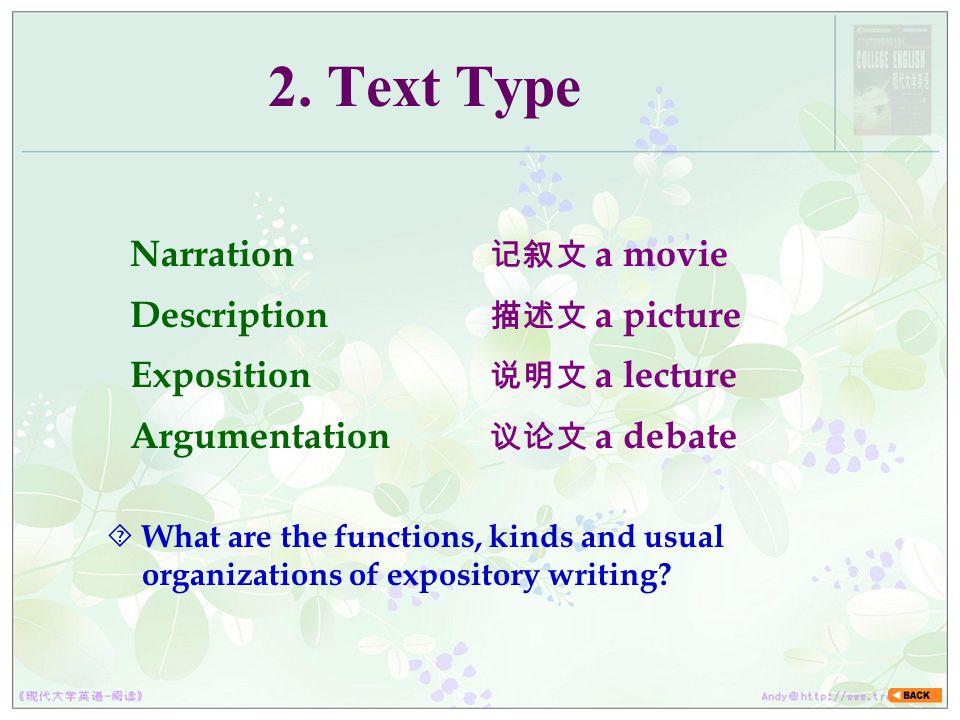 2. Text Type Narration Description Exposition Argumentation