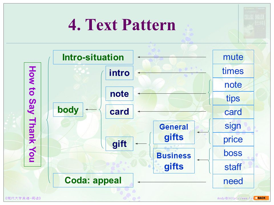 4. Text Pattern Intro-situation mute How to Say Thank You times intro
