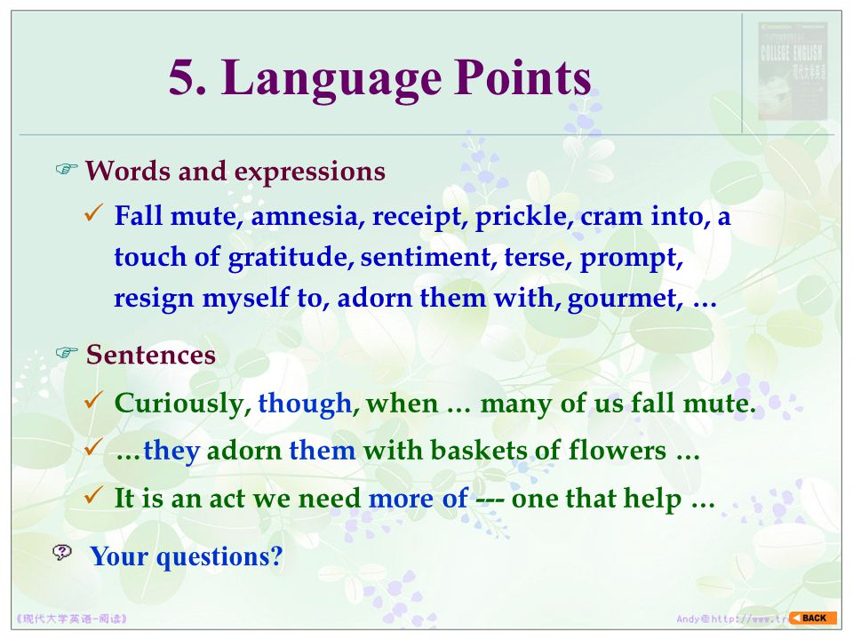 5. Language Points Words and expressions