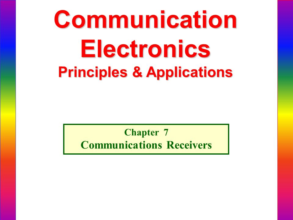 Principles & Applications Communications Receivers