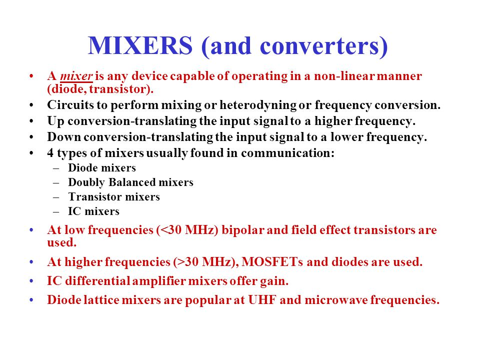 MIXERS (and converters)