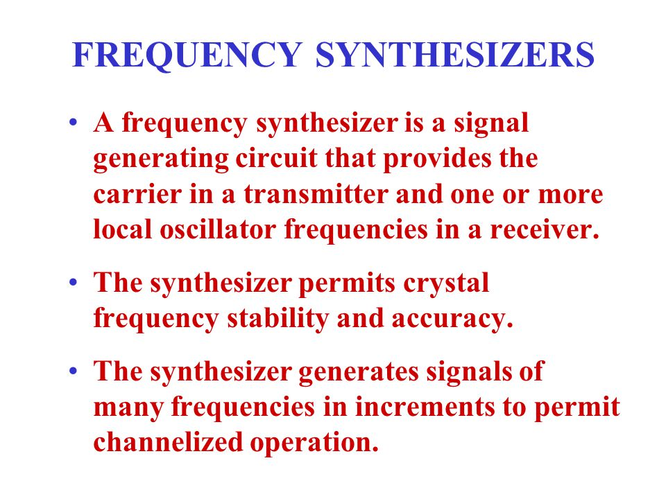 FREQUENCY SYNTHESIZERS