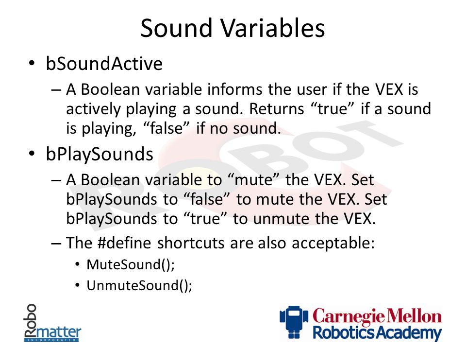 Sound Variables bSoundActive bPlaySounds