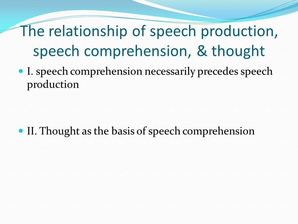 The relationship of speech production, speech comprehension, & thought