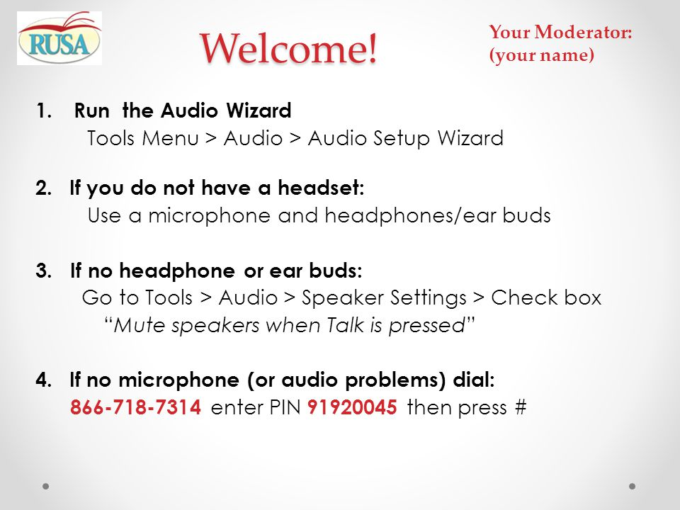 Welcome! Run the Audio Wizard