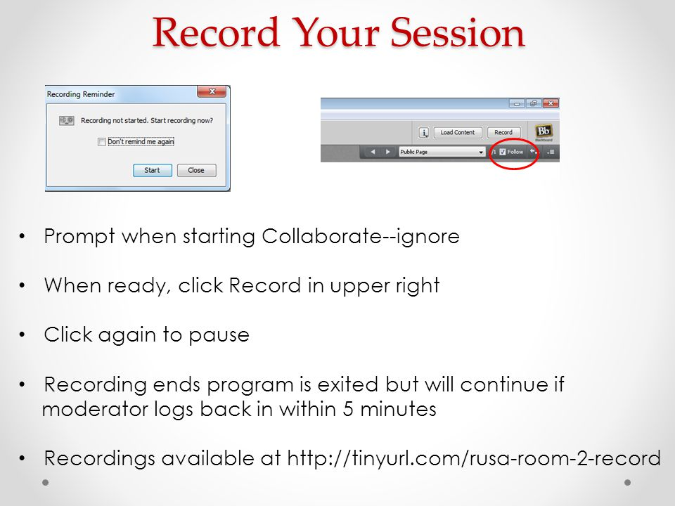 Record Your Session Prompt when starting Collaborate--ignore