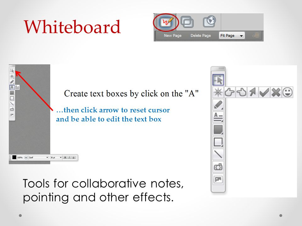 Whiteboard Tools for collaborative notes, pointing and other effects.