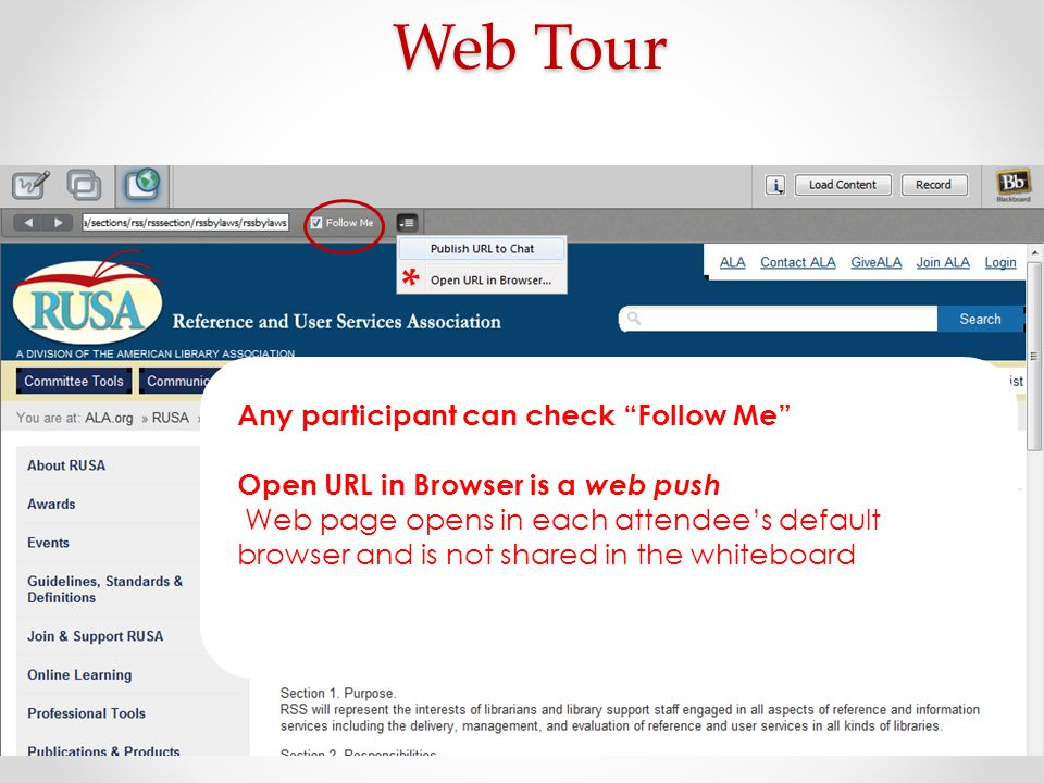 Web Tour * Any participant can check Follow Me