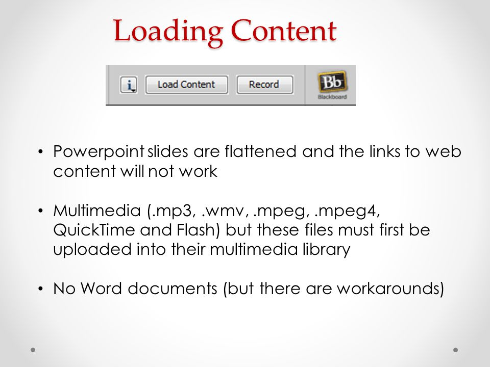 Loading Content Powerpoint slides are flattened and the links to web content will not work.