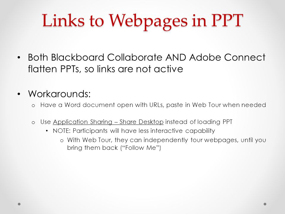 Links to Webpages in PPT