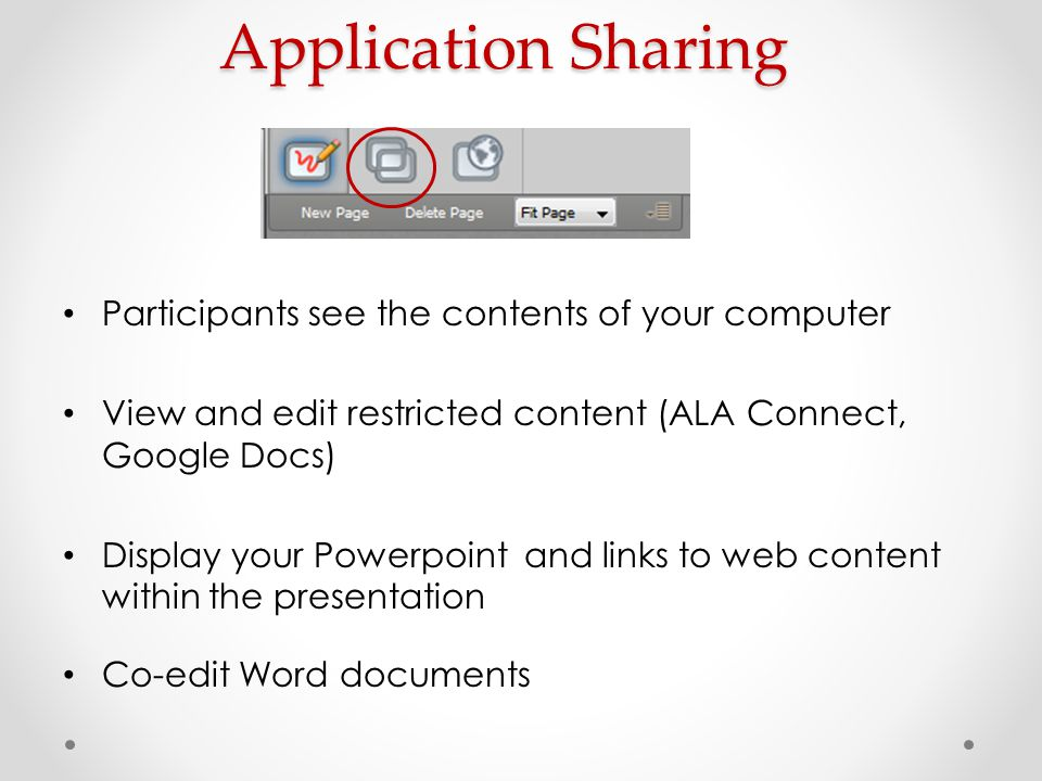 Application Sharing Participants see the contents of your computer