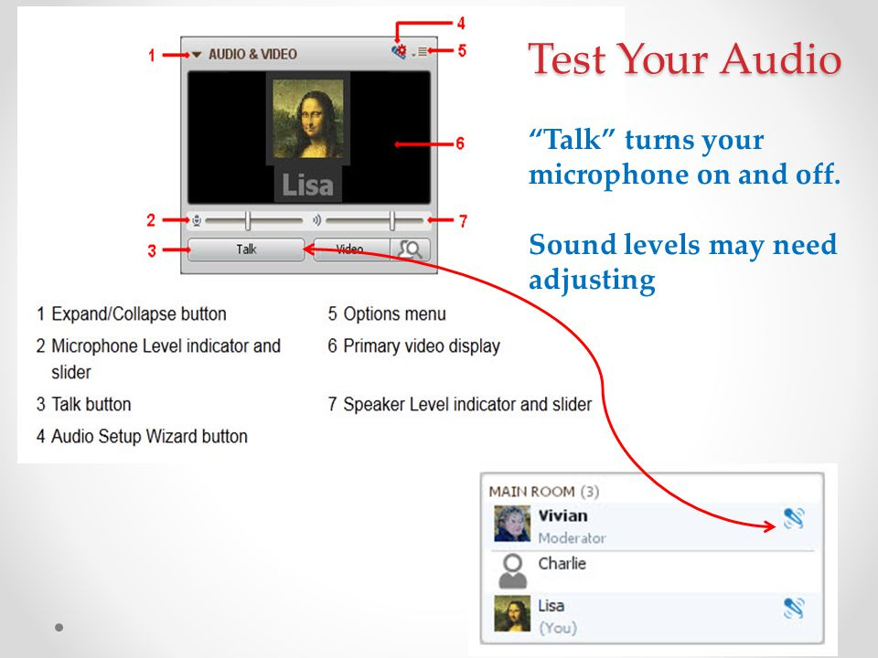 Test Your Audio Talk turns your microphone on and off.