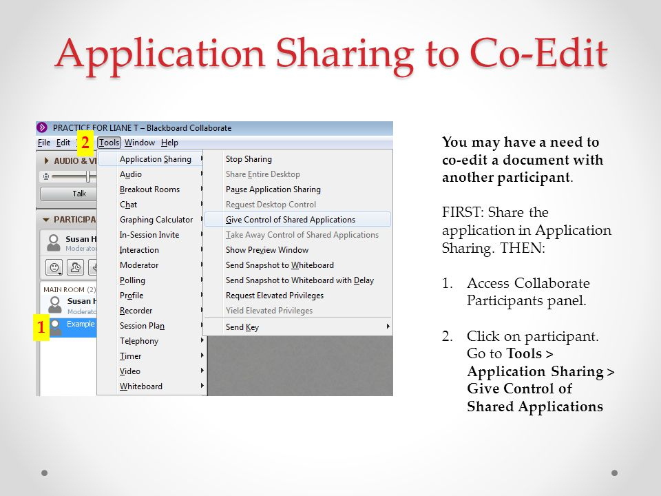 Application Sharing to Co-Edit