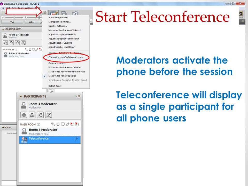 Start Teleconference Moderators activate the phone before the session