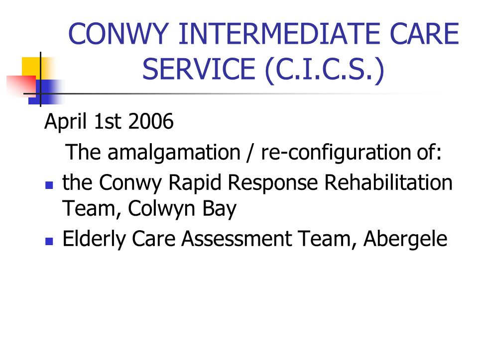 CONWY INTERMEDIATE CARE SERVICE (C.I.C.S.)
