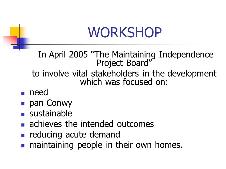 WORKSHOP In April 2005 The Maintaining Independence Project Board
