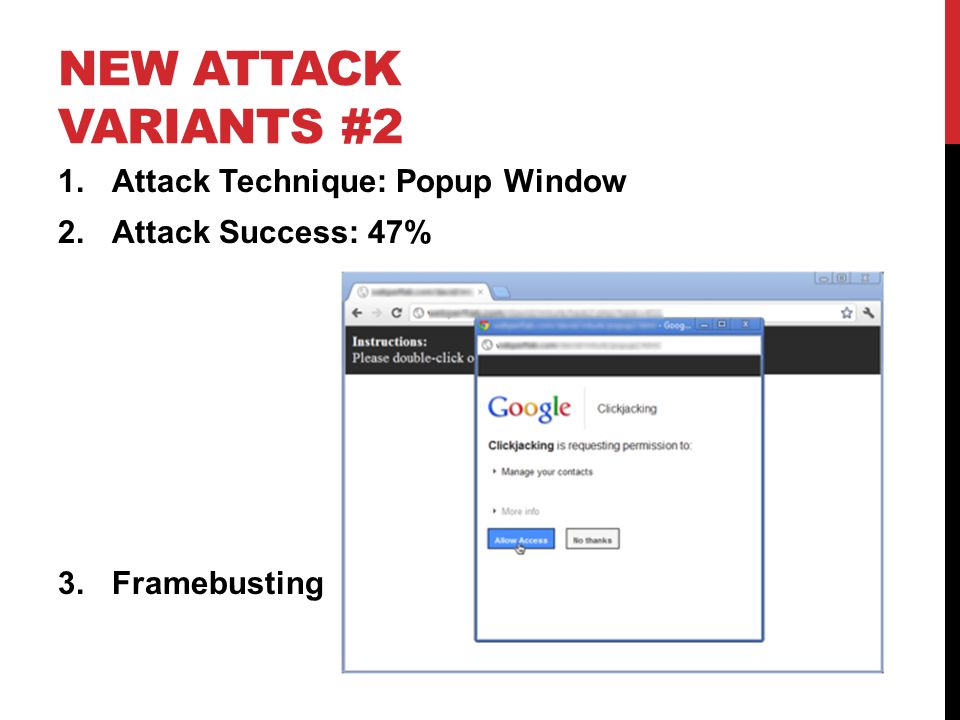 New Attack Variants #2 Attack Technique: Popup Window