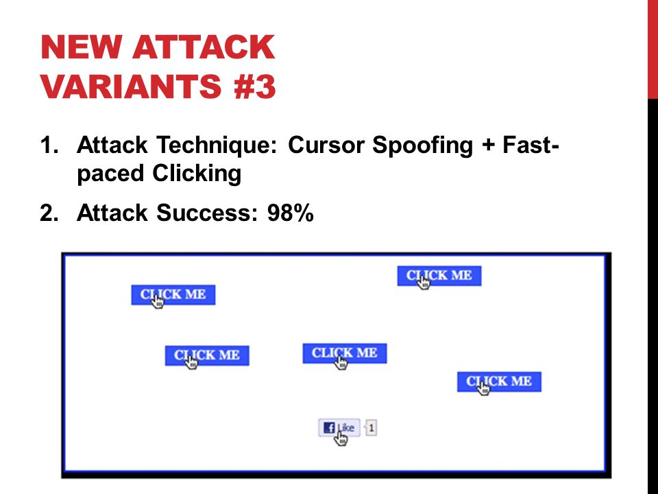 New Attack Variants #3 Attack Technique: Cursor Spoofing + Fast- paced Clicking. Attack Success: 98%