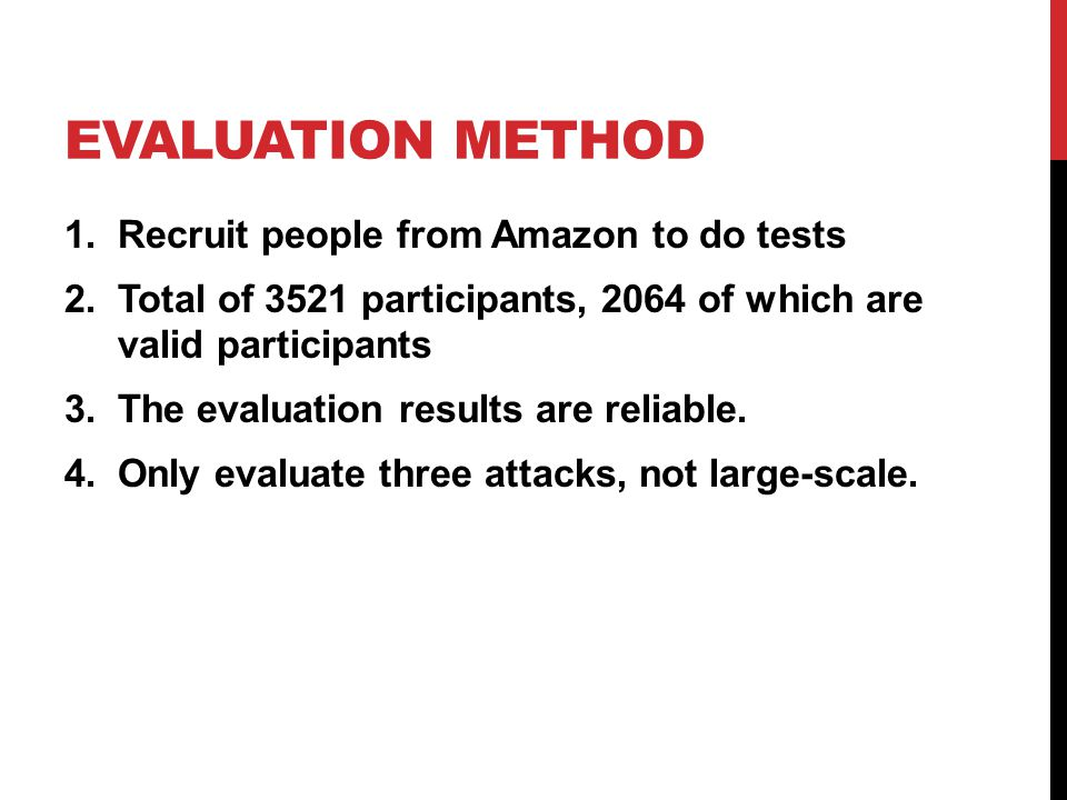Evaluation Method Recruit people from Amazon to do tests