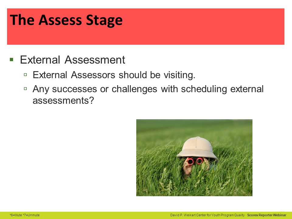 External Assessment External Assessors should be visiting.