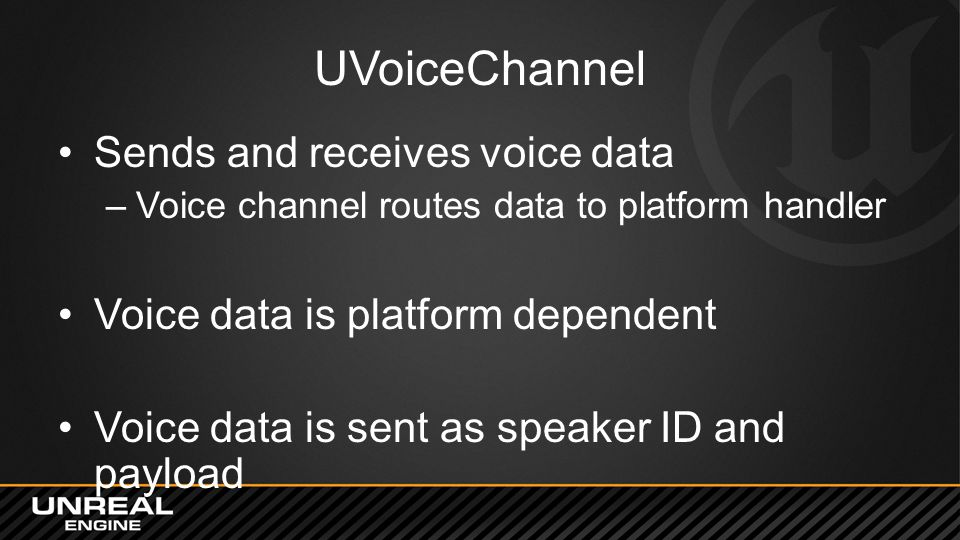 UVoiceChannel Sends and receives voice data